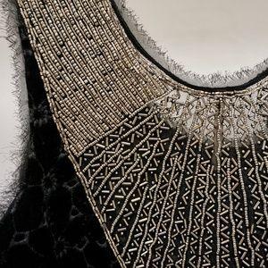 Black Velvet Beaded Cocktail / Evening Dress